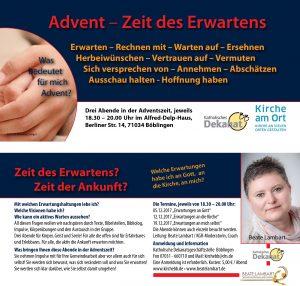 Beate Lambart, Seminar, Advent Zeit des Erwartens 2017